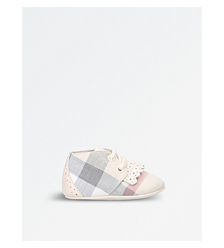 BURBERRY Check slip-on cotton booties (Cream