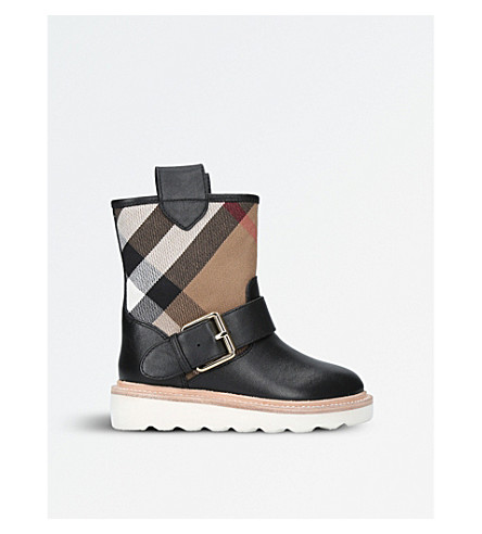 BURBERRY House check and leather weather boots (Black