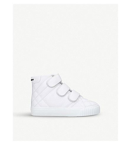 BURBERRY Sturrock quilted leather high-top trainers 3-5 years (White