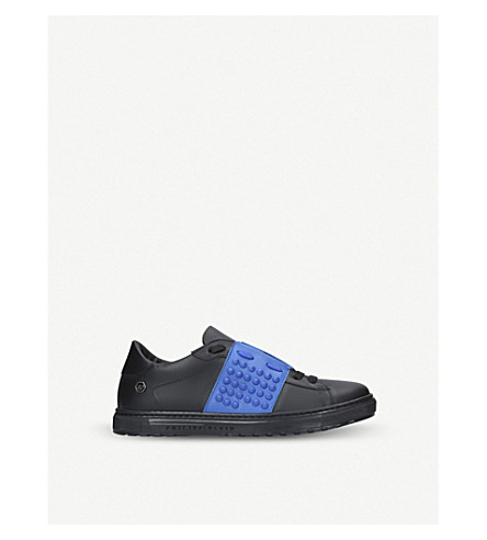 PHILIPP PLEIN Andre leather low-top trainers 6-8 years (Blk/blue