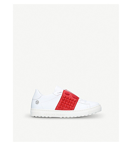 PHILIPP PLEIN Andre leather low-top trainers 6-8 years (White/red