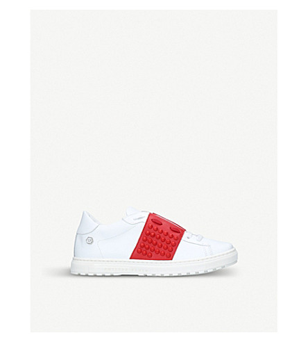 PHILIPP PLEIN Andre leather low-top trainers 8-12 years (White/red