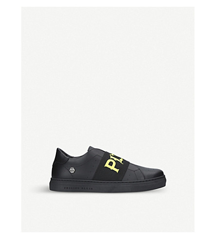 PHILIPP PLEIN Bastien leather trainers 8-11 years (Black