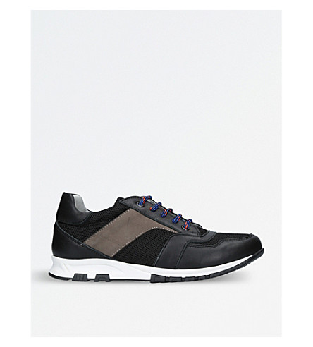 LANVIN Doodles leather and mesh trainers (Blk/blue