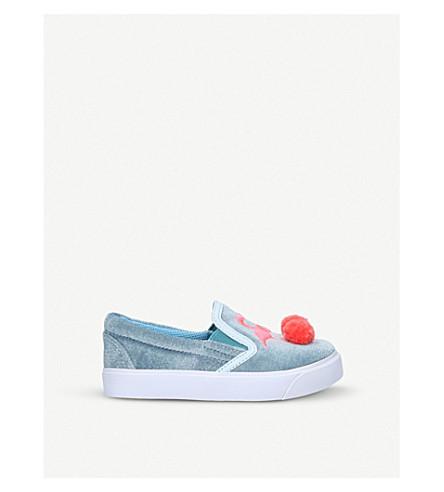 SOPHIA WEBSTER Kingston flamingo velvet skate shoes (Blue