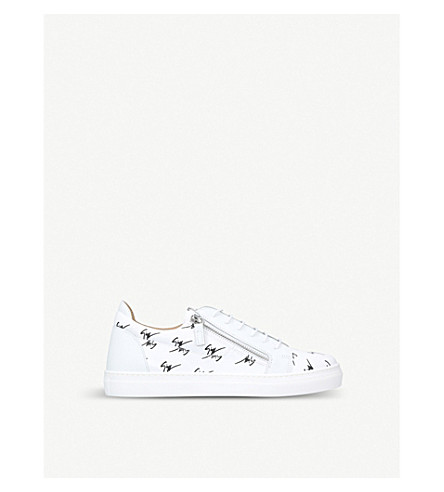GIUSEPPE ZANOTTI Signature leather trainers 4-8 years (White/blk