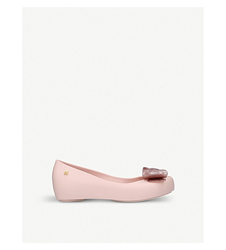 MINI MELISSA Ultragirl glittered bow detail ballet shoes 6 – 9 years (Nude