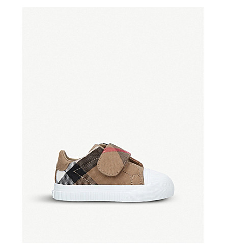BURBERRY Beech cotton leather trainers 0-12 months (White