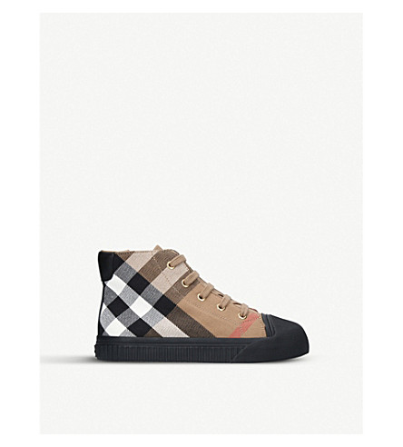 BURBERRY Belford leather-panelled cotton canvas high-top trainers 5-9 years (Black