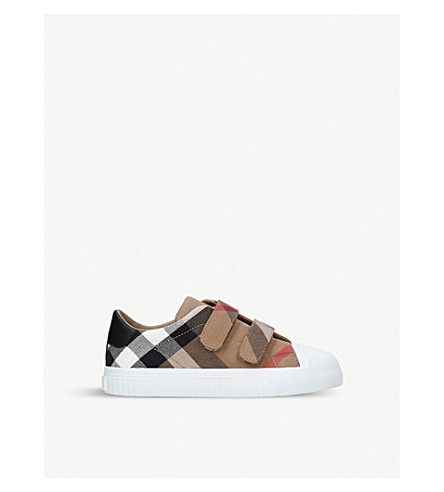 BURBERRY Belside canvas leather trainers 4-9 years (White