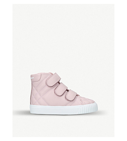 BURBERRY Sturrock quilted leather high-top trainers 3-5 years (Pale+pink