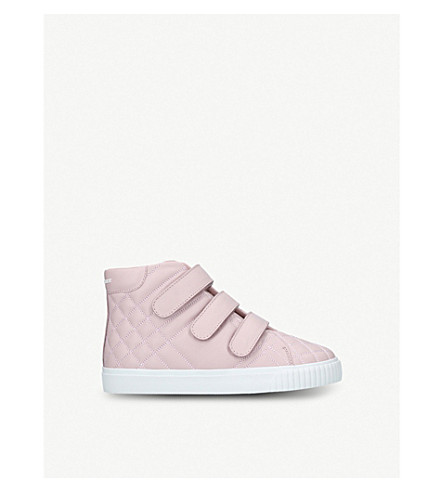 BURBERRY Sturrock quilted-leather high-top trainers 4-9 years (Pale+pink