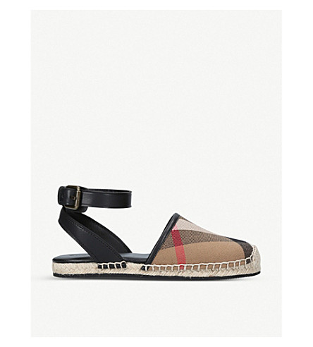 BURBERRY Perth canvas and leather espadrille sandals 4-9 years (Black