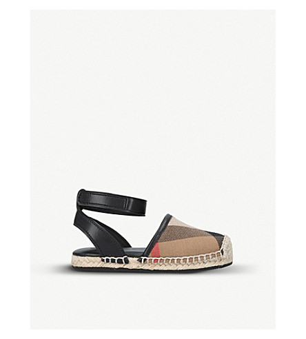 BURBERRY Perth canvas and leather espadrille sandals 2-5 years (Black