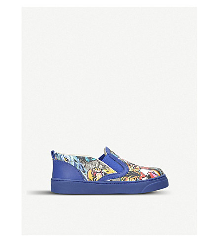 GUCCI Board animal-print canvas and leather trainers 2-5 years (Blue+other