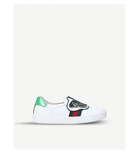 GUCCI New ace fit butterfly leather trainers (3-4 years) (White/oth