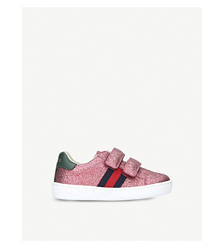 GUCCI New Ace VL glitter trainers 2-5 years (Pink