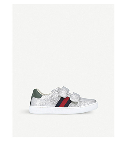 GUCCI New Ace VL glitter trainers 4-8 years (Silver
