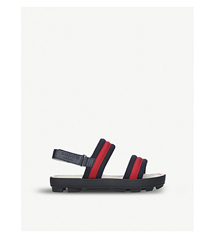 GUCCI Sam webbing and leather sandals 8-9 years (Blue+other