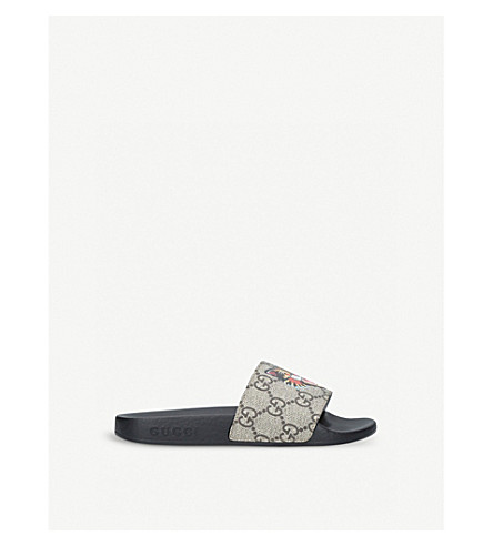 GUCCI Pursuit tiger-print canvas slider sandals 5-8 years (Blk/other