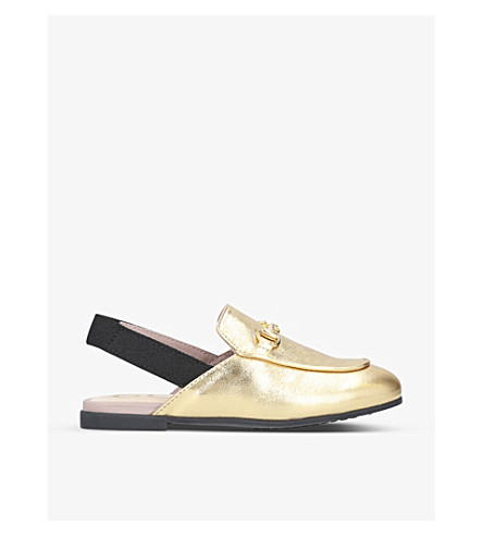 GUCCI Princetown metallic-leather slingback loafers 3-5 years (Gold