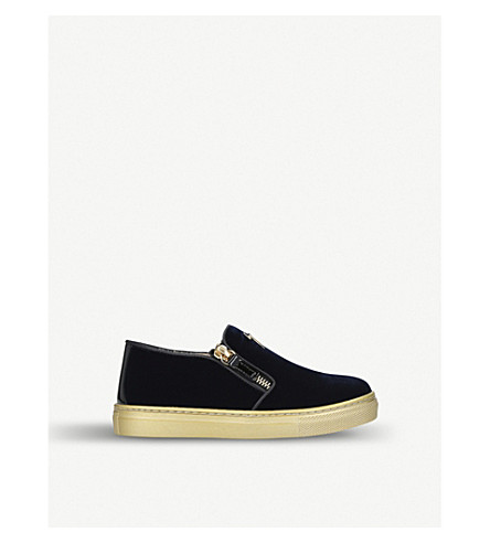 GIUSEPPE ZANOTTI Gary suede and patent leather skate shoes 4-8 years (Navy