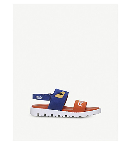 FENDI Fantastic Summer appliqué leather sandals 4-5 years (Blue+other