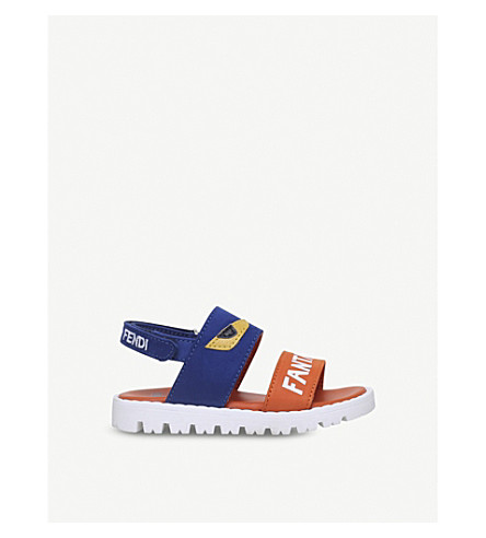 FENDI Fantastic Summer appliqué leather sandals 2-5 years (Blue+other