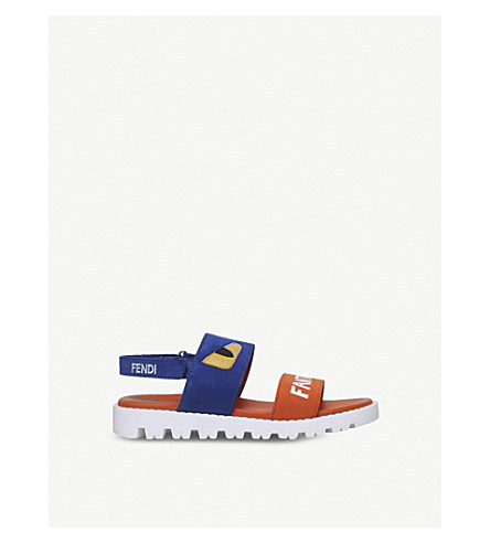 FENDI Fantastic Summer appliqué leather sandals 6-9 years (Blue+other