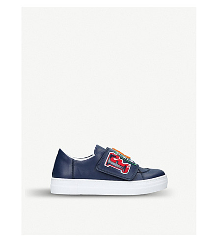 FENDI Funky embroidered leather low-top trainers 3-5 years (Navy
