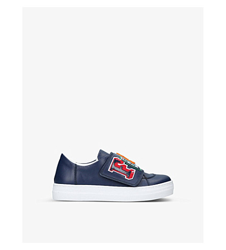 FENDI Funky embroidered leather low-top trainers 6-9 years (Navy
