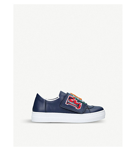 FENDI Funky embroidered leather low-top trainers 9-11 years (Navy