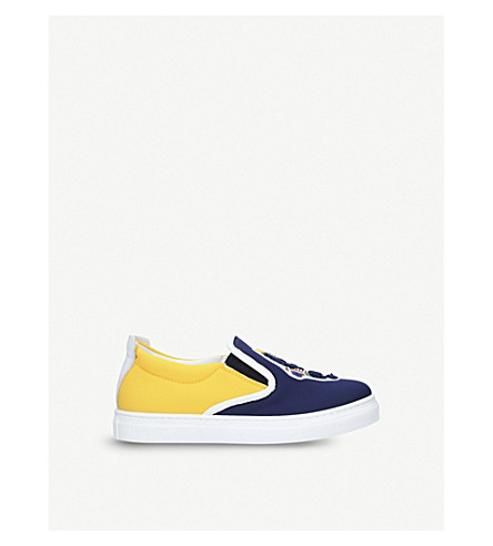 FENDI Varsity appliqué slip-on trainers 6-9 years (Blue+other