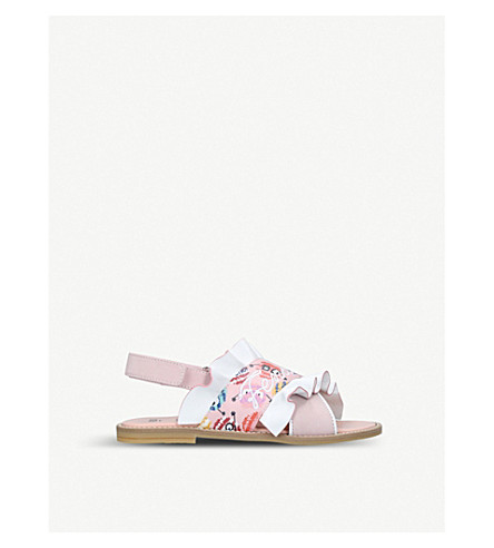 FENDI Ruffle printed leather and linen sandals 3-5 years (Pink+comb