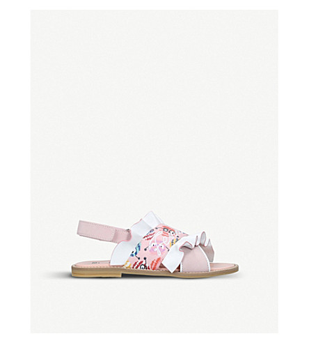 FENDI Ruffle printed leather and linen sandals 6-9 years (Pink+comb