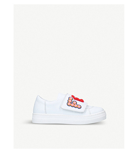 FENDI Funky embroidered leather low-top trainers 6-9 years (White