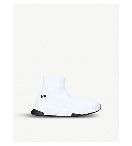 BALENCIAGA Speed woven mid-top trainers 3-8 years (White