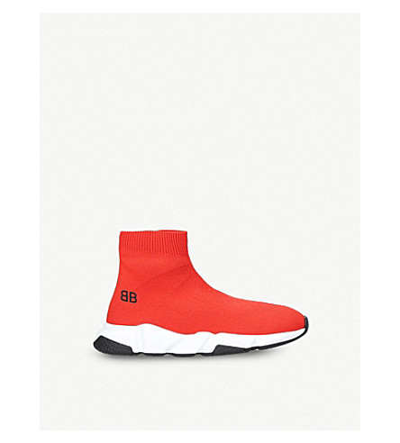 BALENCIAGA Speed woven mid-top trainers 3-8 years (Red