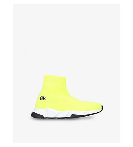 BALENCIAGA Speed woven mid-top trainers 3-8 years (Yellow