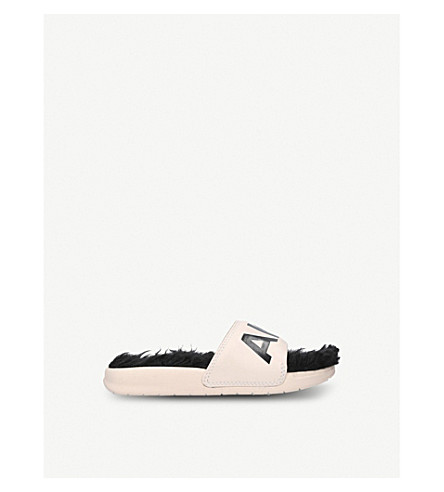 AKID The Aston leather and faux-fur sliders 6 months-8 years (Nude