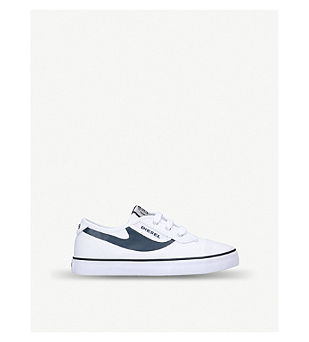DIESEL SN Low 2 Basic Claw canvas low-top trainers 7-11 years (White/navy
