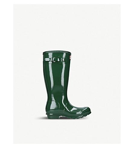 HUNTER 原儿童光泽靴子 (深绿色