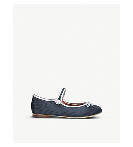 MALONE SOULIERS Vanessa Smalls leather-trim flat shoes (8.5-13 years) (Navy