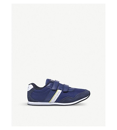 BOSS BY HUGO BOSS Hans low-top leather and mesh trainers 9-12 years (Blue