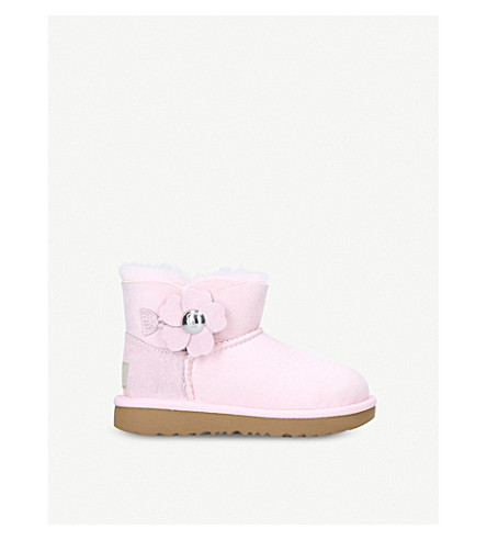 UGG Mini Bailey Button Poppy suede and sheepskin boots (Pale+pink
