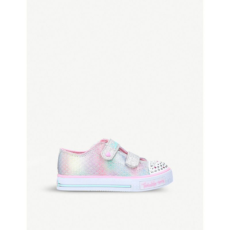 SKECHERS | Shuffle Ms. Mermaid Embellished Light-Up Satin Trainers 2-5 Years | Goxip