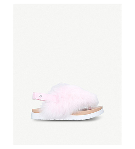 UGG Holly suede and faux-fur flatform sandals 5-8 years (Pale+pink