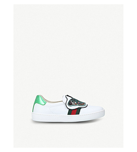 GUCCI New Ace butterfly-applique leather trainers 5-8 years (White/oth