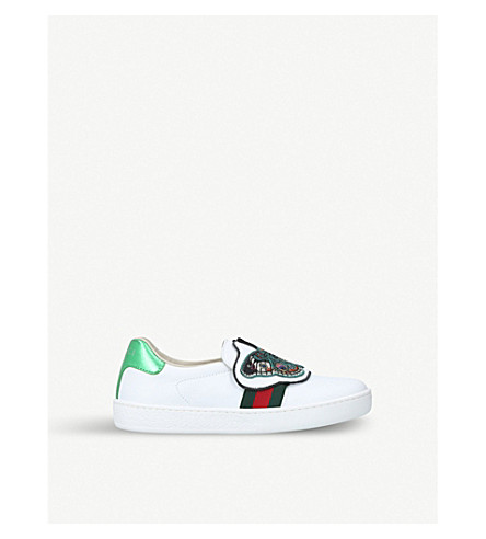 GUCCI New ace mask leather trainers (5-8 years) (White