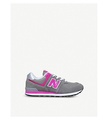 NEW BALANCE 574 suede and mesh trainers 9-10 years (Grey/other